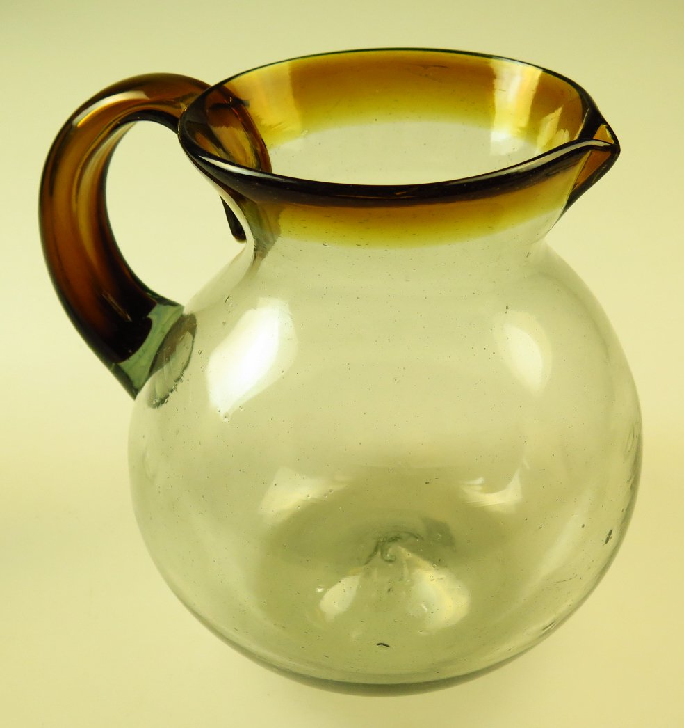 Mexican Glass Margarita or Juice pitcher, Amber rim, hand blown