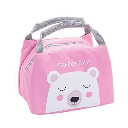 Oyachic Cute Thermal Lunch Bag Insulated Tote Leakproof Zipper Bag with Foil Liner for Office, School and Picnic (polar bear)
