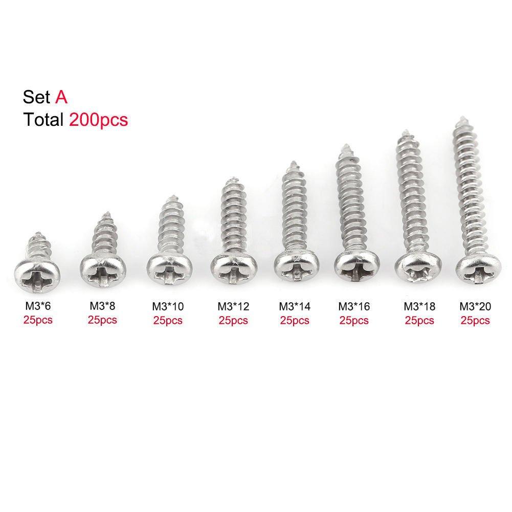 200pcs 304 Stainless Steel M3 Flat Pan Head Self-Tapping Screws Assortment Kits