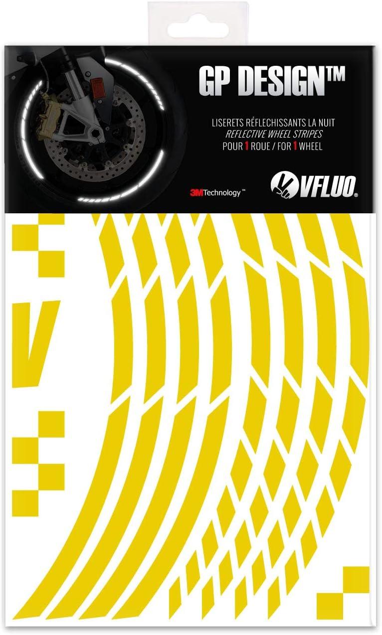 1 Felge 3M Technology/™ VFLUO GP Design/™ XL 10mm breit Motorrad Retro reflektierende Felgenrandaufkleber Kit Rot