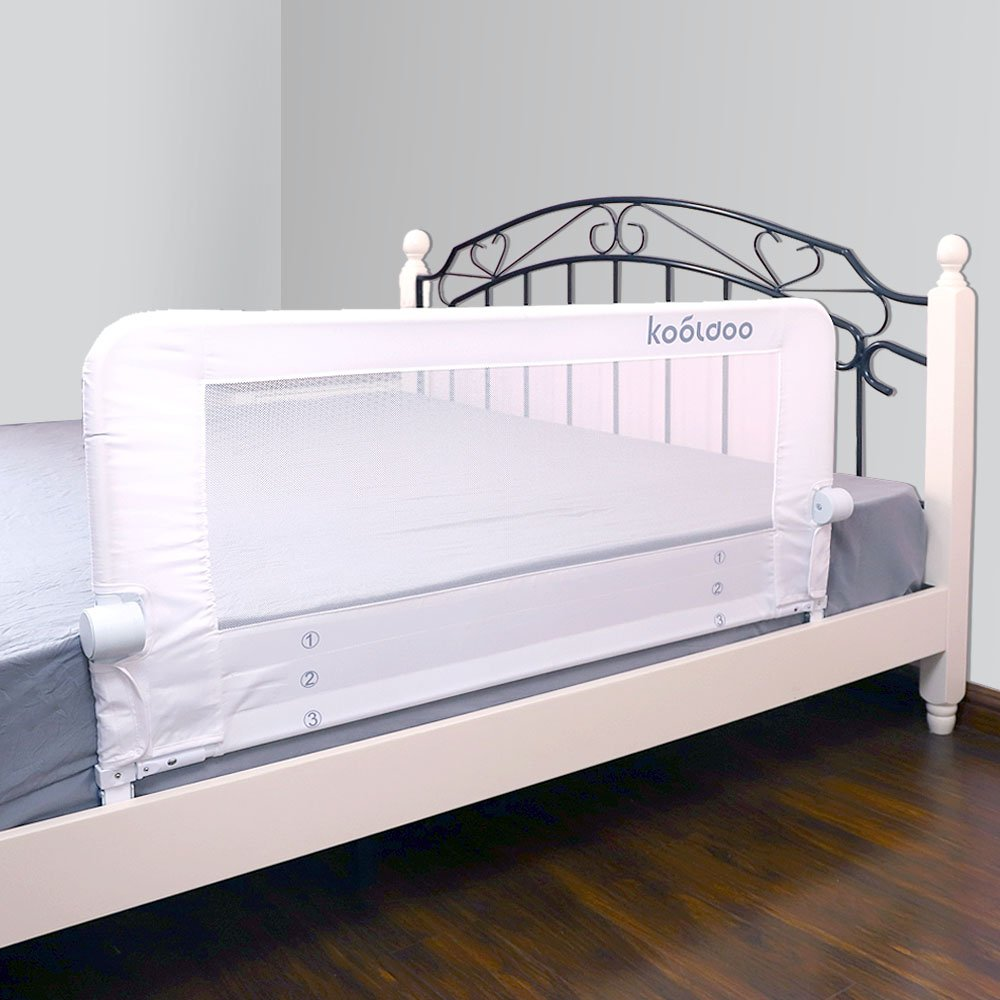 KOOLDOO 51 Inches Fold Down Toddlers Safety Bed Rail Children Bed Guard with NBR Foam Include 1pcs Seat Belt (White)