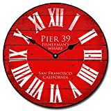 Cheap Pier 39 Red Wall Clock, Available in 8 Sizes, Most Sizes Ship 2-3 Days, Whisper Quiet.