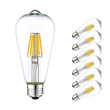 Lakes ST64 LED Bulb Dimmable, 6W Edison LED Filament Bulbs (60W Halogen Equivalent), Vintage LED Filament Bulbs, E26 Medium Base, 600lm, 2700K Warm White, Clear Glass (6-Pack)