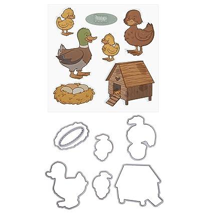 Amazon.com: Whitelotous Farm Duck Silicone Stamp Cutting Die Stencil ...