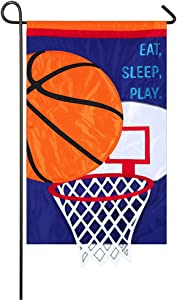 Evergreen Applique Eat, Sleep, Basketball Garden Flag, 12.5 x 18 inches