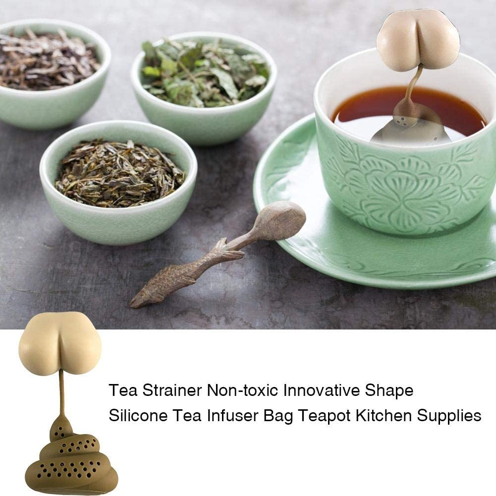Silicone Tea Filter for Loose Tea Poop Shape Tea Infuser April Fools Day Gift Creative Kitchen Gadgets Tea Strainer