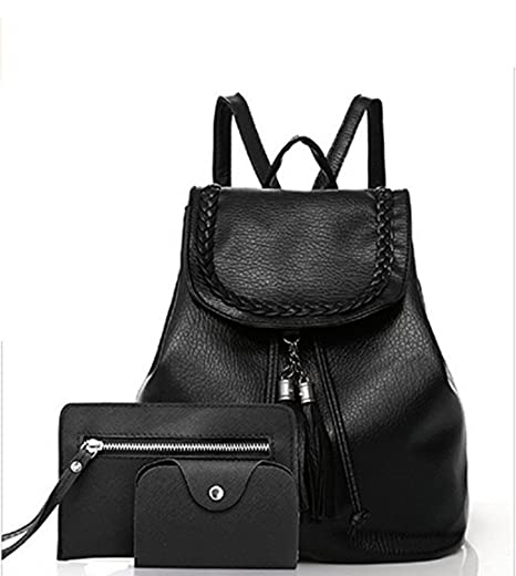 87225688b8a9 Image Unavailable. Image not available for. Color  Women s Fashion Pu  Leather Backpack Set 3 ...