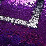 TRLYC Purple and Silver 4ftx6.5ft Reversible Mermaid Glitz Sequin Backdrop Sparkly Background for Wedding