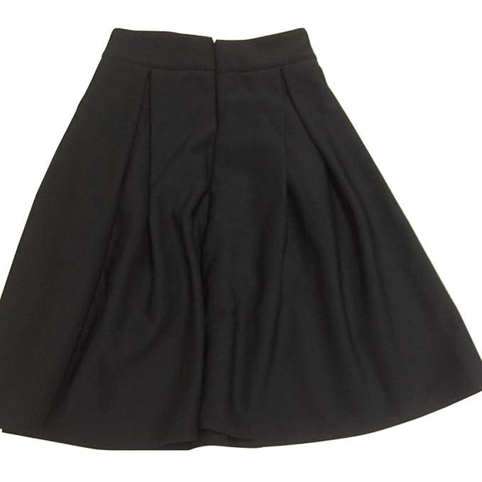 28e3a8ae22 Minetome Ladies Retro Elegant Pleated Skirt Knee Length Sexy High Waist Bell -Shaped Midi Skirt