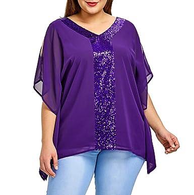 20bb16c56d3 Lolittas 2018 Newest Summer Purple Chiffon Blouse T Shirt for Women Laides  Overseize XL-5XL