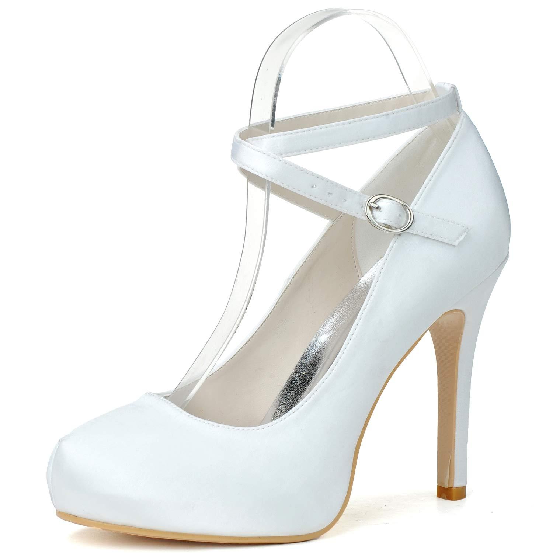 blanc Elobaby Femmes pour Chaussures De Mariage Satin Chunky Chunky Pompes Boucle Partie Ivoire Plateforme Ronde Plateforme Chaton Talons Bout Fermé Talon De 11 Cm