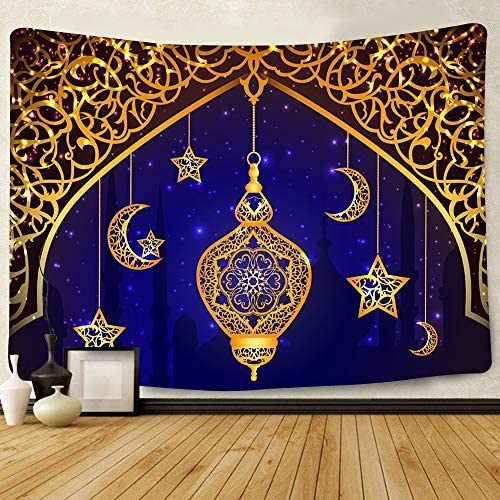 Simsant Eid Muslim Tapestry Golden Moon Lantern Ramadan Lesser Balram Party Wall Hanging Islamic Ornament for Dorm Bedroom Living Room Home Decor SILS396