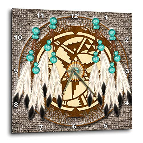 3dRose DPP_108094_1 Designer One of a Kind Native American Art Wall Clock, 10 by 10