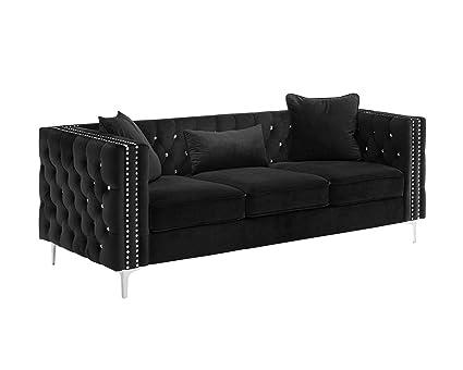 Amazon.com: Sofa Couch Modern Velvet Nailhead Studded (Black) 2019 ...