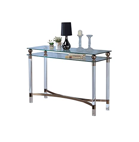 Amazon Com Cosburn Chrome Glass Sofa Table Kitchen Dining