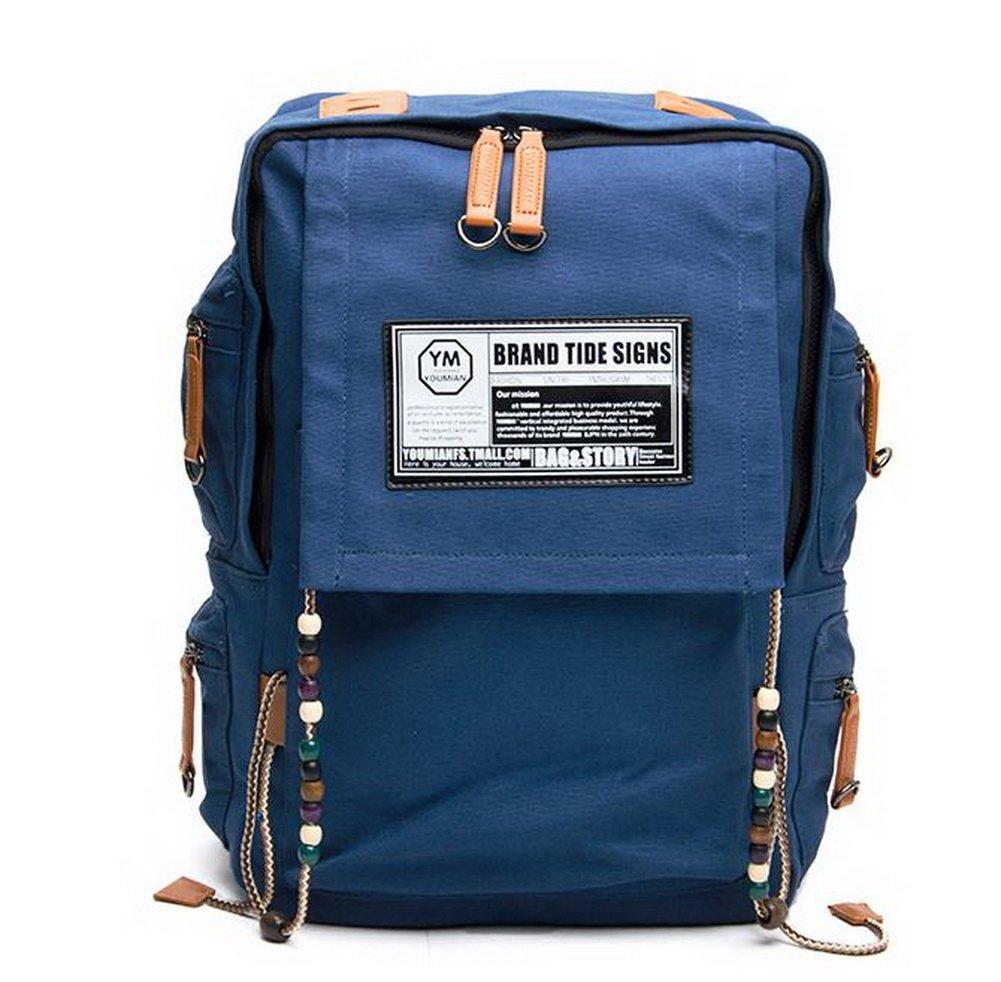 Navy Canvas Backpack for Women Beading Backpack for Travel