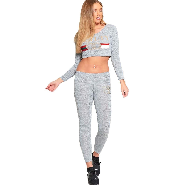 XPACCESSORIES Ladies Womens Guilty Slogan Printed Crop Top Trouser Loungewear Joggers Tracksuit Lounge Suit 2 Pcs Set UK Size 8-14
