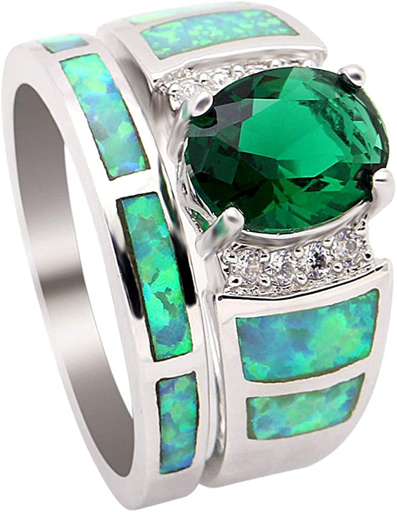 UFOROO Green Opal Ring Set Platinum Plated Wedding Rings for Women Fashion Jewelry