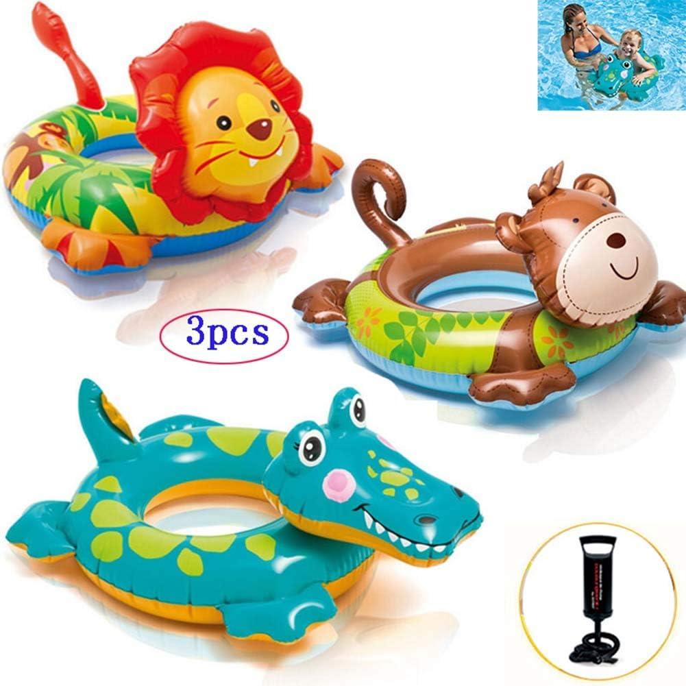 Thole 3 Paquetes Cabeza De Animal Flotador Bebe Espesar Flotadores De Piscina Salvavidas Baby Swimmer De Mano Apto para 3-6 AñOs