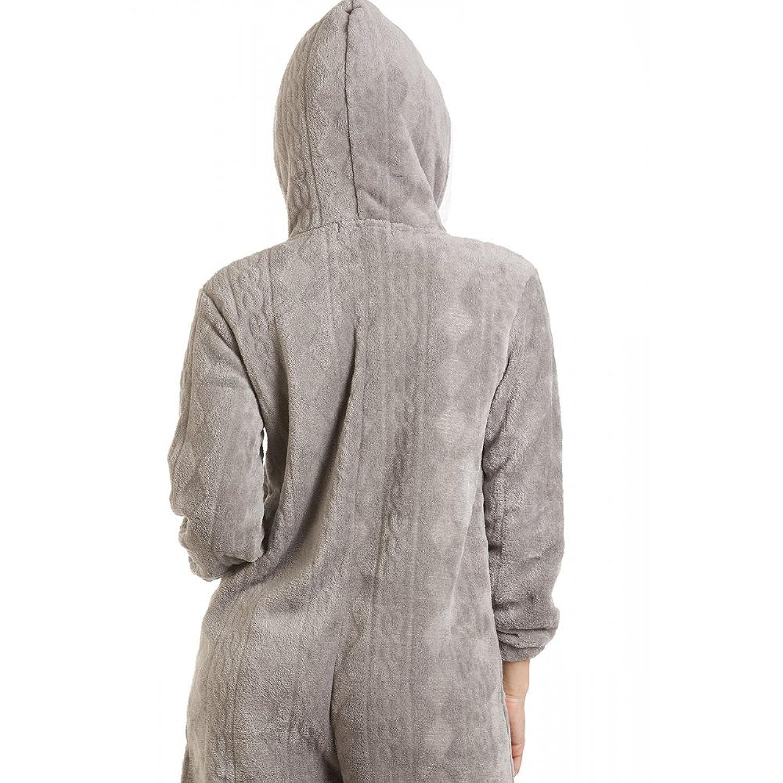 binaison pyjama  capuche en polaire ultra douce femme gris