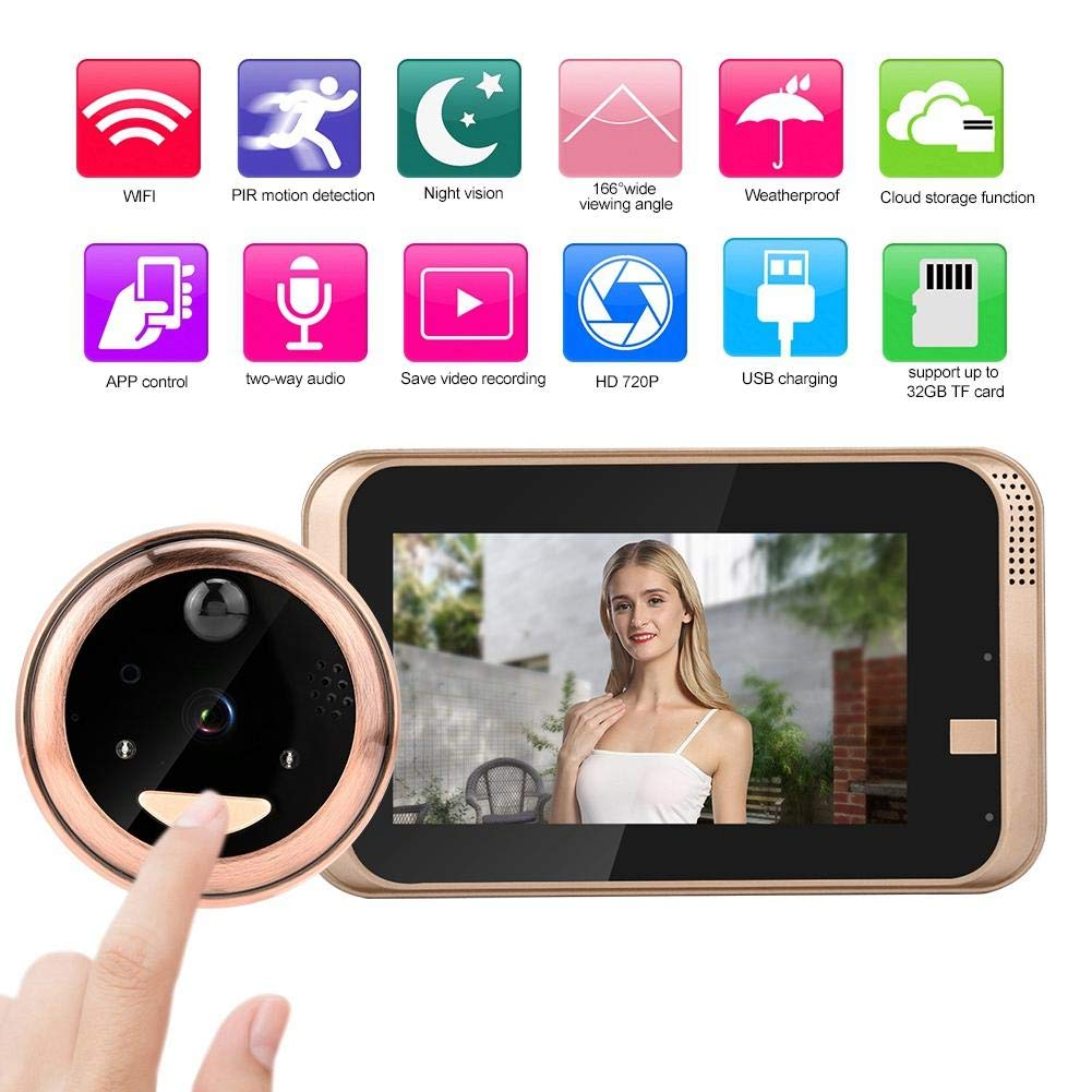 Digital Door Viewer Peephole, 4.3Inch 720P WiFi Video Doorbell Cat Eye Camera with Night Vision, PIR Motion Detection, 2-Way Audio, 166° Wide Viewing Angle, Cloud Storage, APP Control for iOS/Android