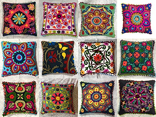 Indian Designer Home Decor Floral Cotton Pillow Case Decorative Sofa Boho Chic Bohemian Throw Pillow Cover, Outdoor Sequin Hand Embroidered Suzani Cushion Cover, Boho Decor Handmade Couch Pillow (5pc)