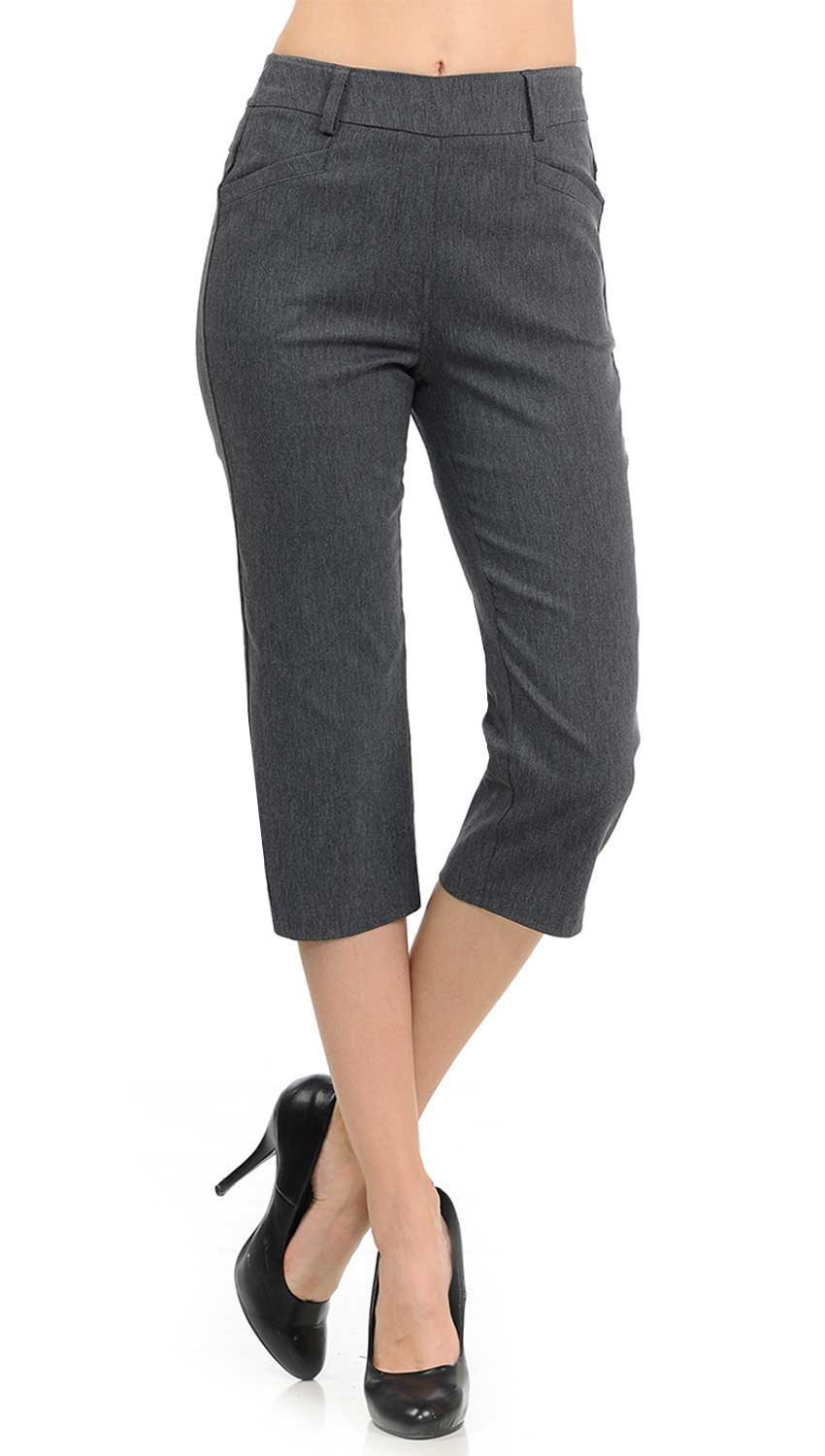 VIV Collection New Women's Straight Fit Trouser Capri Pants (X-Large, Heather Charcoal)