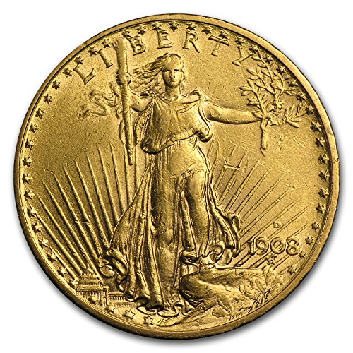 - 1908 D $20 St. Gaudens Gold Double Eagle w/Motto AU G$20 About Uncirculated