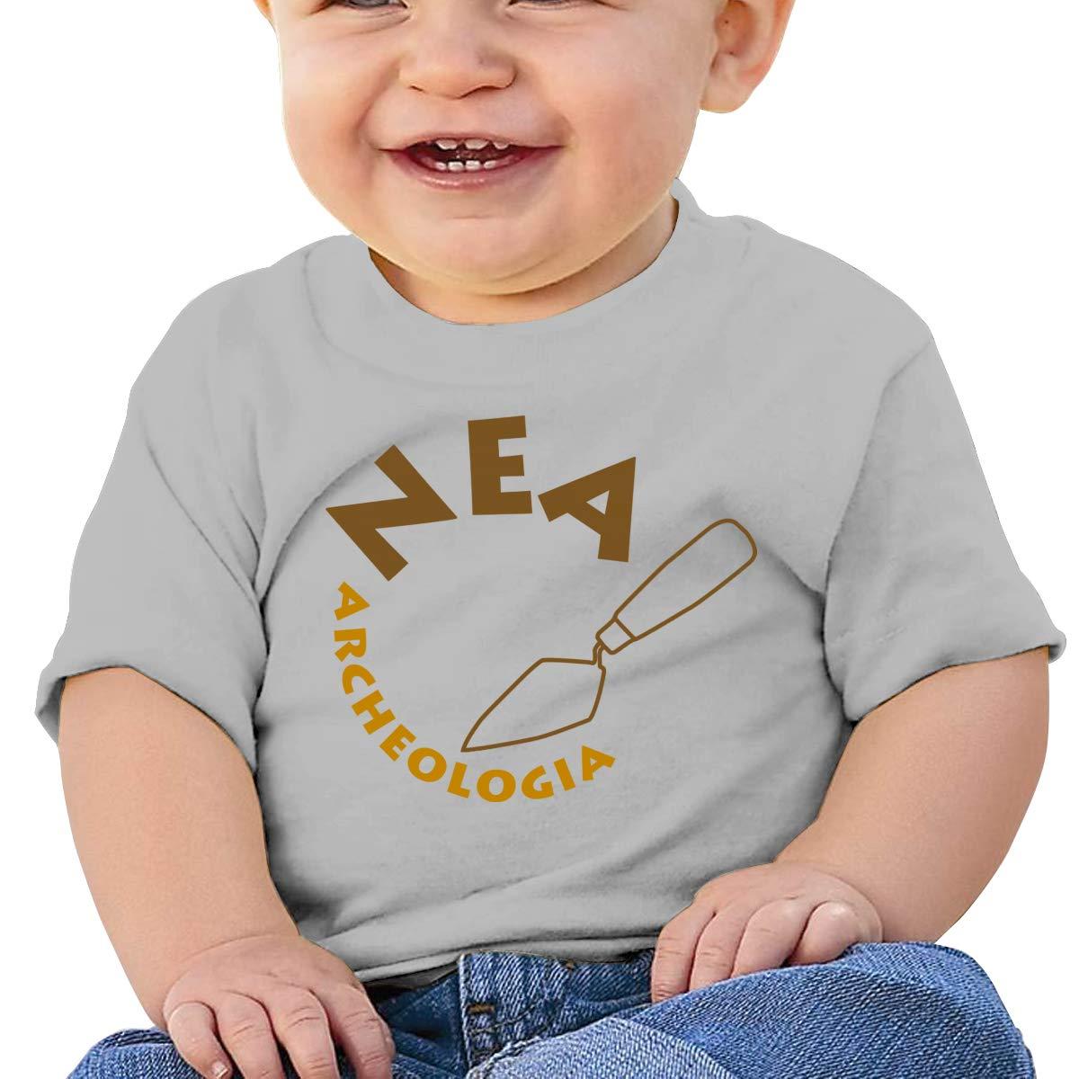 Hazhisha Bronzo Baby T-Shirt with Round Collar and Pure CottonGray