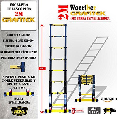 ESCALERA TELESCÓPICA / 2M / GAMA GRAFITEK / GARANTÍA 5 AÑOS: Amazon.es: Hogar