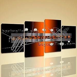 Huge Framed Modern Abstract Painting Home Decor Wall Art Print Canvas Orange, Large Abstract Wall Art, Living Room, Sambuca