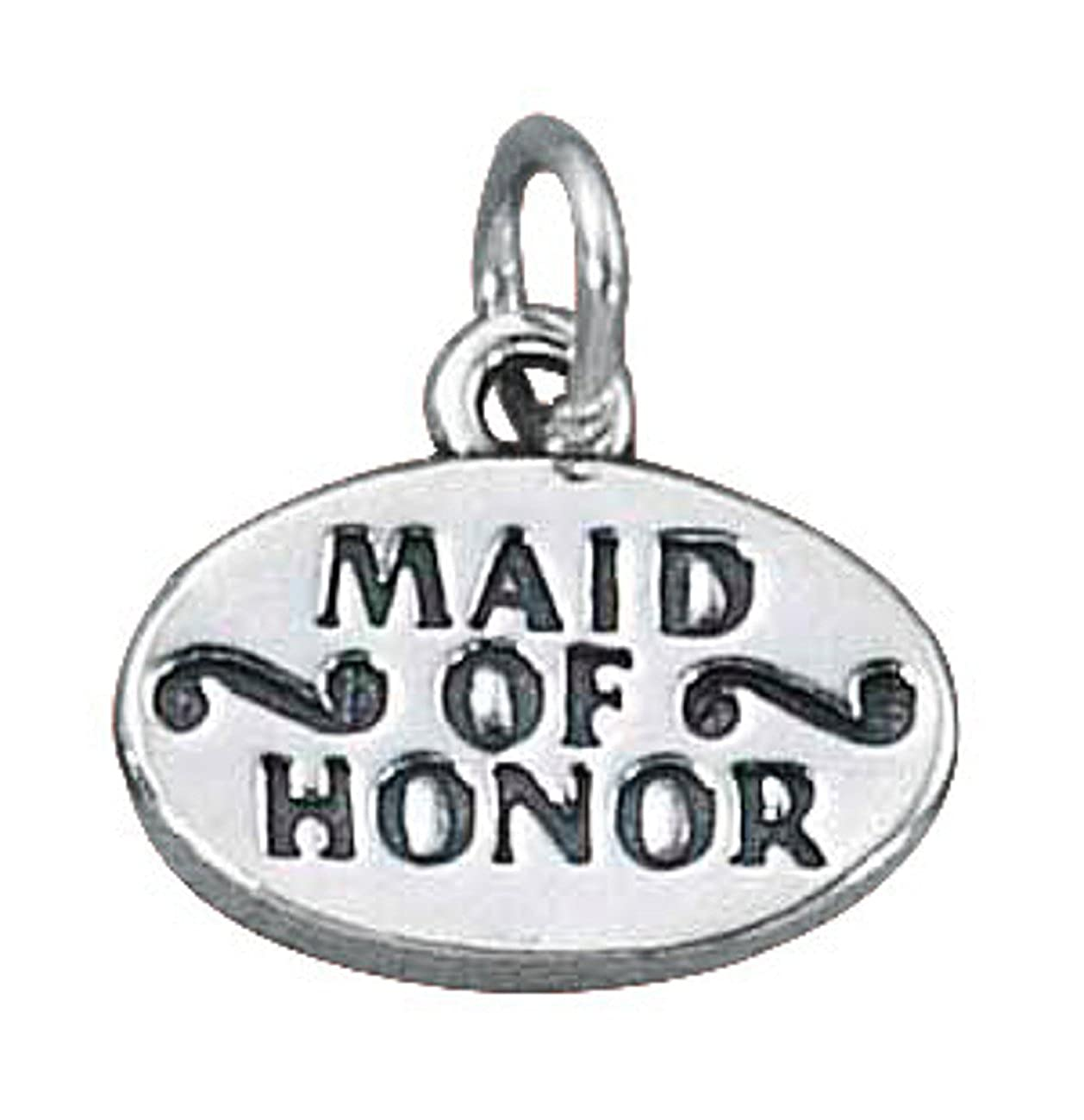 Sterling Silver Girls .8mm Box Chain MAID OF HONOR Word Pendant Necklace