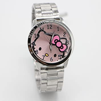 2b4f8a697 Amazon.com: Kitty Hello Wrist Watch Pink Stainless Steel Watch with ...