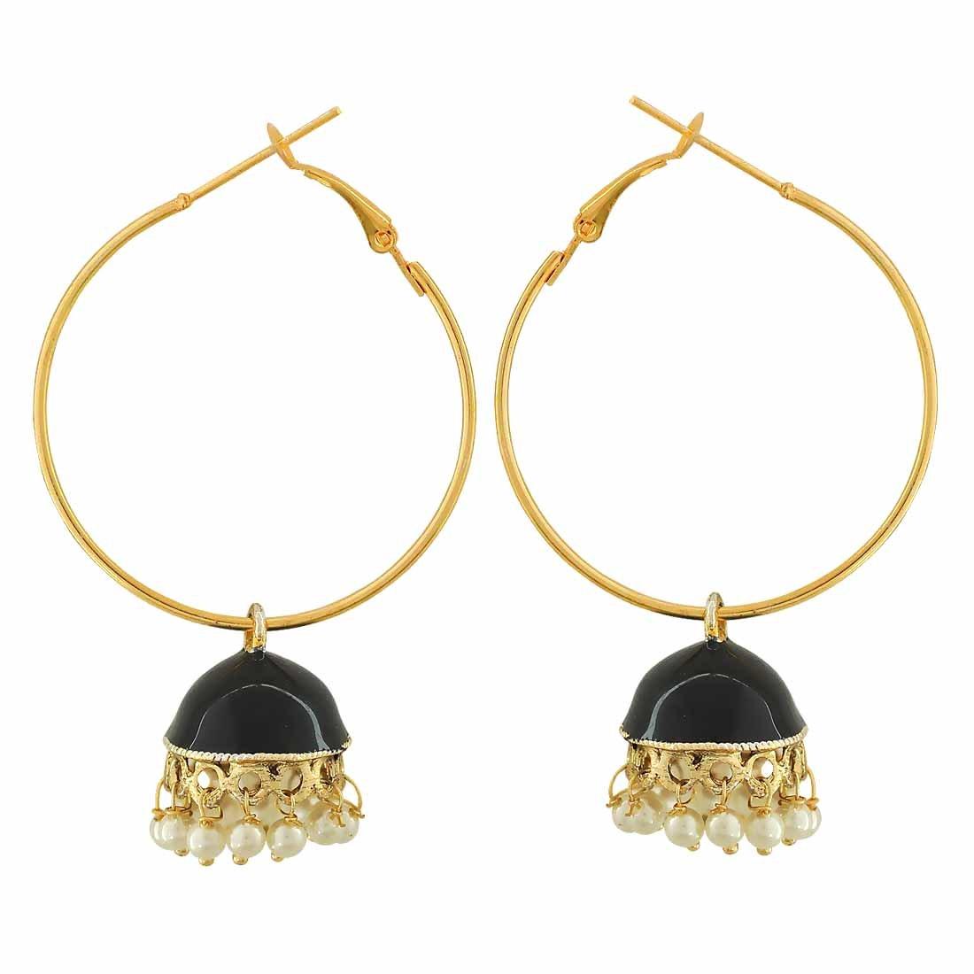 Maayra Meenakari Pearl Earrings Black White Hoops Festive Traditional Earrings