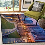 Chicago Skyline, Bath Mats for Floors, Cityscape Urban Scene Waterfront Illuminated at Twilight Blue Hour Image, Bath Mat Non Slip 6x9 Ft Multicolor