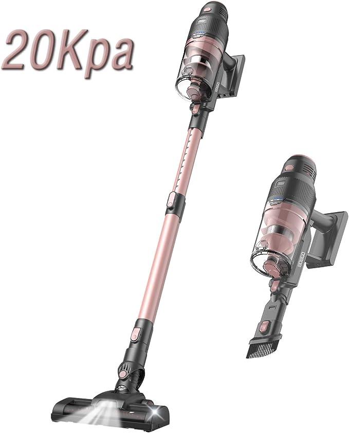 WOWGO Aspirador Escoba sin Cable, 20KPA Aspiradora Vertical y de Mano con 2200mAh Extraíble Batería, Hepa Filtro Lavable, 3 Potencia Succión: Amazon.es: Hogar