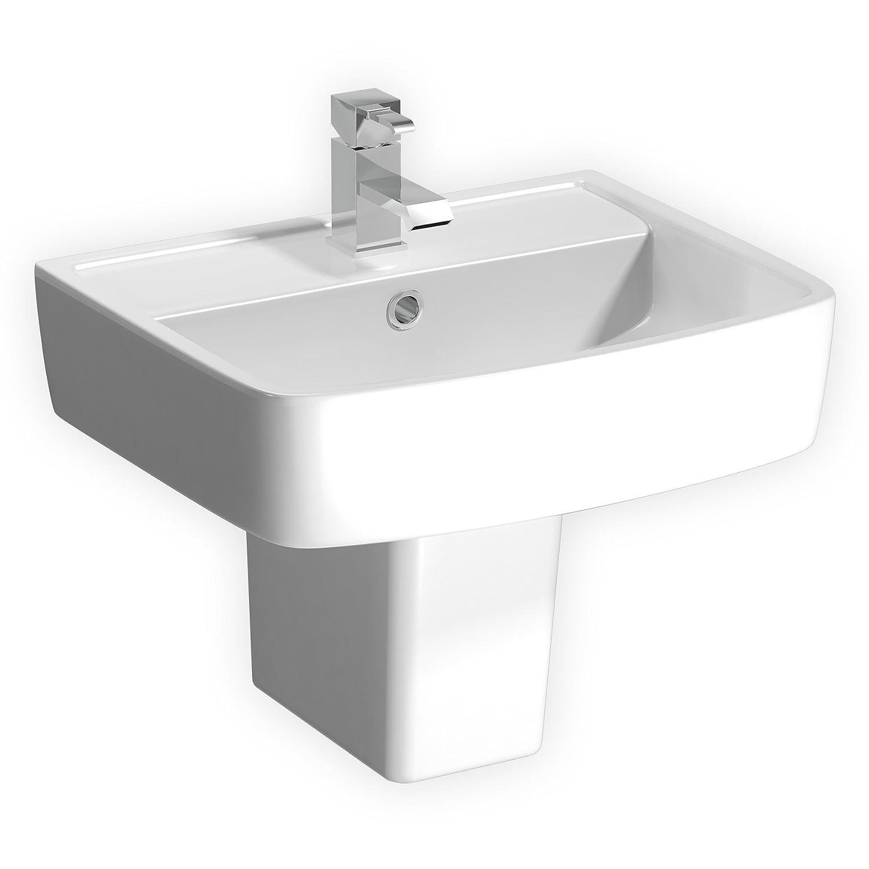 Modern Bathroom Bliss 600 x 470mm (W x H) Ceramic 1TH Basin Sink with Semi Pedestal - Gloss White Finish Premier