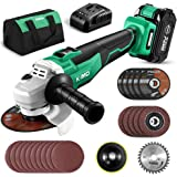 KIMO 20V Brushless Cordless Angle Grinder, 4-1/2 Inch, 9000RPM w/ 4.0Ah Lithium-Ion Battery & Fast Charger, 2-Position…