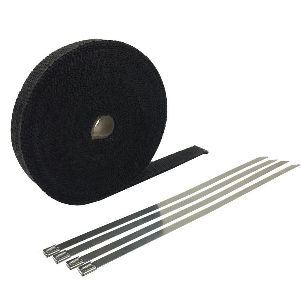 Teepao scarico Wrap Titanium 5, 1 cm x 50 'Scarico intestazione Wrap kit con pezzi in acciaio INOX zip fascette per moto Golden 1cm x 50' Scarico intestazione Wrap kit con pezzi in acciaio INOX zip fascette per moto Golden
