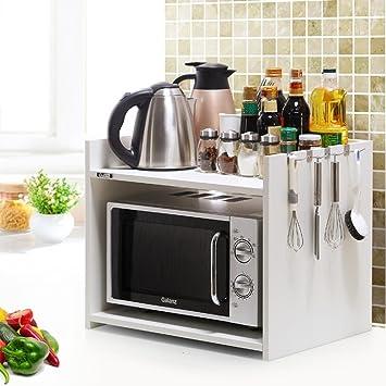 WENZHE Estantería Cocina Baldas Horno Microondas Condimento Multifunción Almacenamiento De Madera, 2 Capas, 5