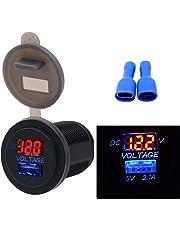 Samoleus Impermeabile LED 12-24V Adattatore da Moto USB Caricabatteria da Auto con Voltmetro Display Power Socket per Moto Barca Marino (2 IN 1-Rosso)