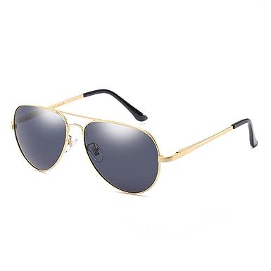 Klassisch Mode Pilotenbrille Sonnenbrille für Damen Herren Autofahren Laufen Radfahren Angeln Golf mit Polarisierten Metallrahmens Entspiegelten 100% UV400 Schutz (Gold) TXFi9L