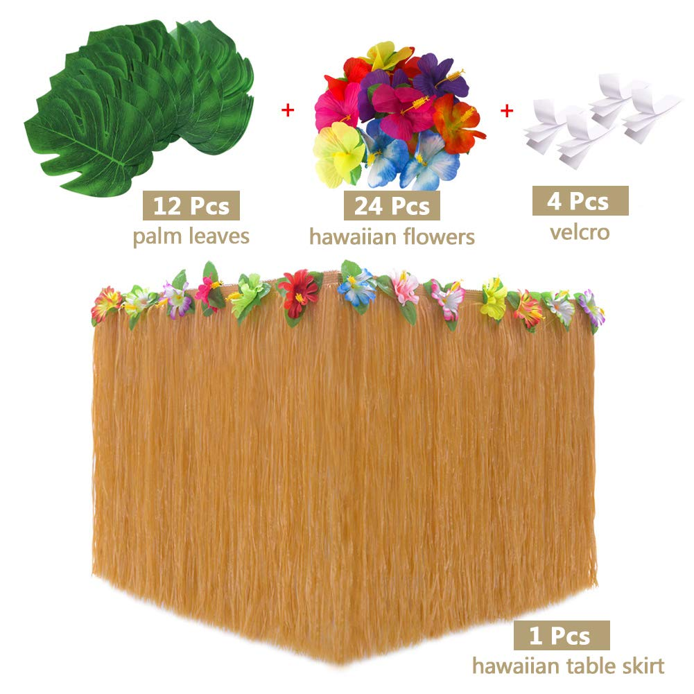 LAOZHOU 92 Pcs Hawaiian Tropical Party Decoration Set with 9.6ft Hawaiian Table Skirt Flowers and Banners,Palm Leaves,velcro,Umbrellas and 3D Fruit Straws for Luau Beach PartyTable Decorations