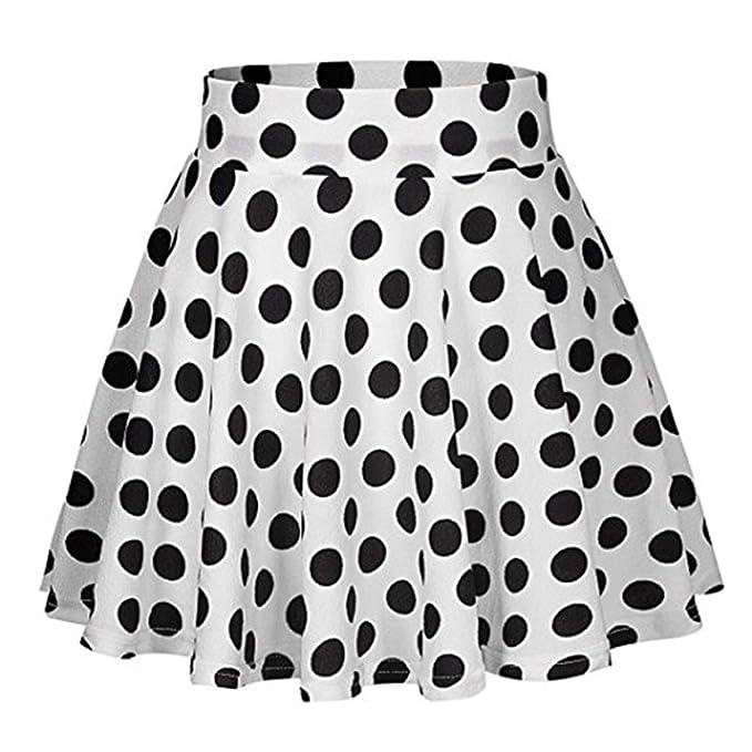 bac70afdf QinMM Falda cóctel Estampado a Lunares para Mujer, Falda Mini Fiesta Alta  Cintura Vestir