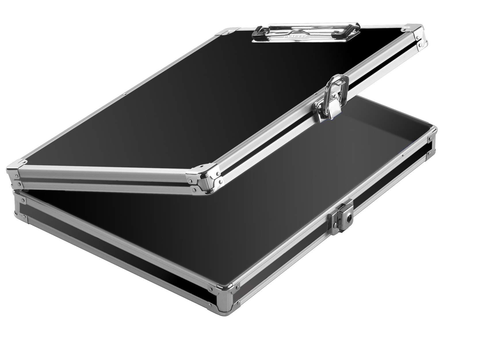 Vaultz Locking Storage Clipboard for Letter Size Sheets, Key Lock, Black, Case of 3 Clipboards (VZ00151-C)