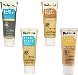 product image for Redmond - Earthpaste All Natural Non-Fluoride Vegan Non GMO Real Ingredients Toothpaste, 4 Pack (Peppermint Charcoal, Peppermint, Lemon, Cinnamon)