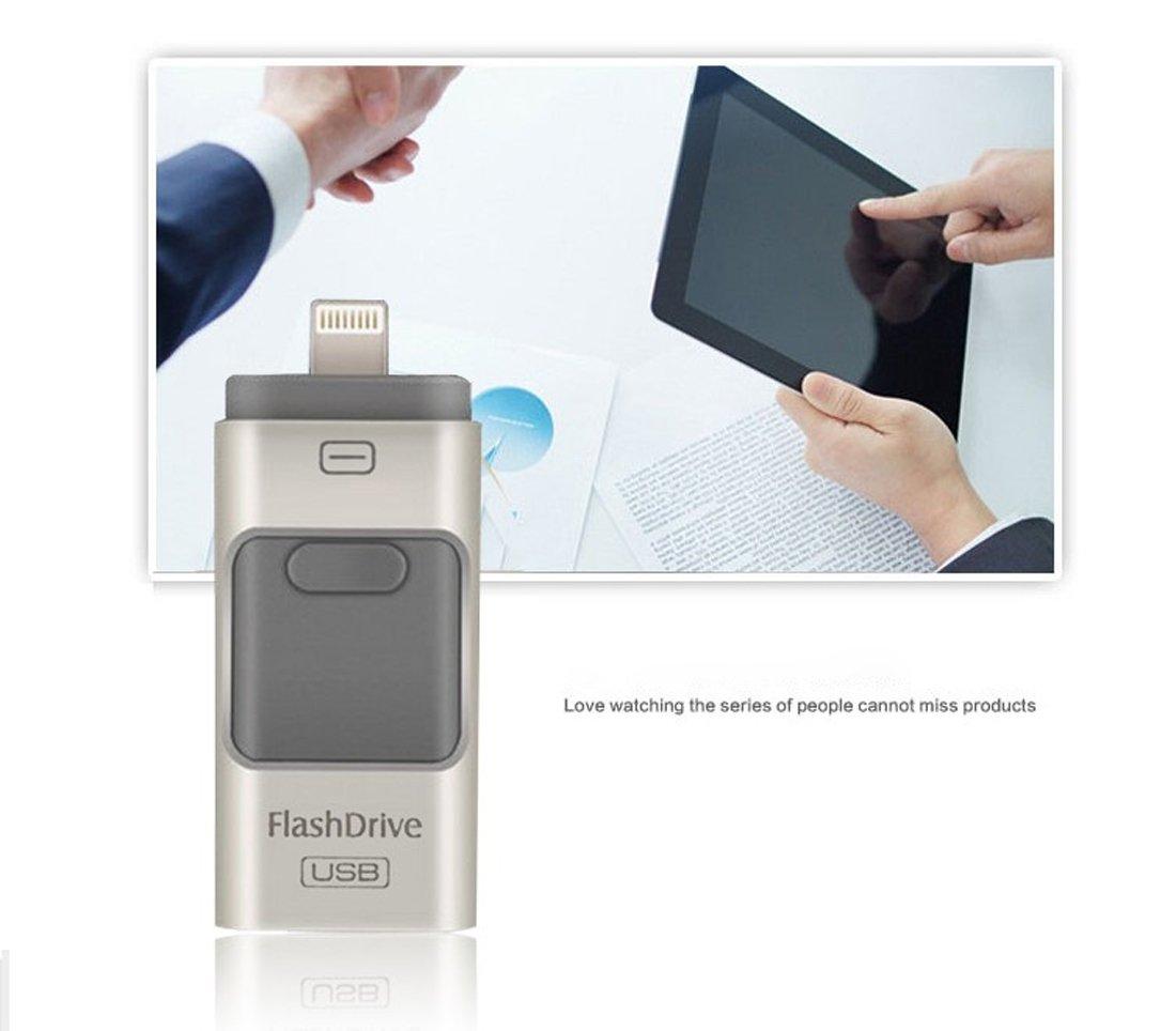 telefoni Android PC 64GB, Silver 3 in 1 chiavetta USB OTG USB 3.0 Flash Drive per iPhone X // 8//7//6 // 6s // 5 // 5S Plus // ipad Pendrive i-Flash
