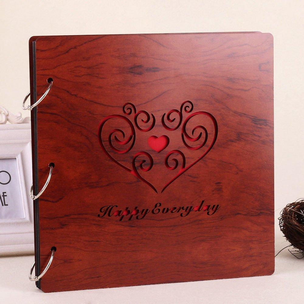 Longpro Creative DIY Photo Album Loose-leaf 10 Inch Rosewood Photo Album Anniversary Scrapbook (Happy Everyday) by Longpro