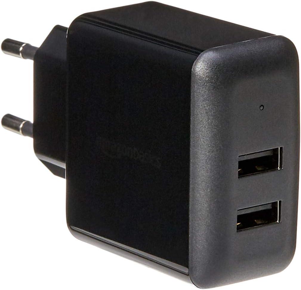 Amazon Basics – Cargador USB de pared de dos puertos (2,4amperios), Negro