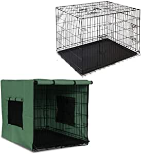 """48"""" Folding Collapsible Portable Dog Cage w/ Cover Pet Crate Puppy Metal Kennel"""